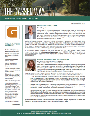 The Gassen Way - Winter Edition 2017 - Newsletter